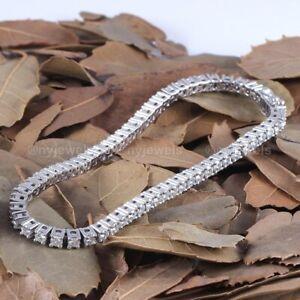 Christmas Sale Diamond Tennis Bracelet Solid 14k White Gold 5 CT Round Brilliant