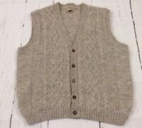 L.L. Bean Mens Light Gray Size Large Wool Cable Knit Sweater Vest LL Bean