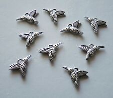10x Humming Bird Charms for Bracelet Animal Earring Pendant For Necklace Silver