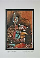 "SIGNED SMALL ARTWORK NATIVE TRIBAL ""EAGLE DANCER"" KACHINA ART by MISHA AMBROSIA"