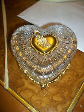 FRANKLIN MINT CINDERELLA 24 k gold plated lead Crystal Heart Box 1989  RARE HTF