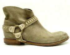 Alberto Fermani Brown Leather Harness Zip Up Ankle Boots Shoes Women's 40 / 10