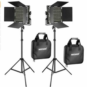 2 Pieces Bi-color 660 LED Video Light and Stand Kit + TWO batteries and charger