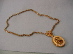 Vintage Victorian  Gold Filled Rope Chain Locket Necklace  Cameo