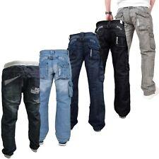 Mens Enzo Cargo jeans Combat Casual Denim Trousers Pants All Waist Leg Sizes