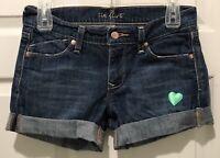 Old Navy The Flirt Mid-Rise Junior's Blue Denim Cuffed Jean Shorts Size 1