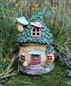 Garden Ornament Fairy Blue Chimney House Solar Decorative Ornament Secret Gift