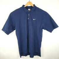 Vintage Nike Mens Size XL Navy Blue Short Sleeve 3 Button Polo Made in USA