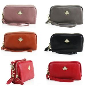 Ladies BEE Soft Faux Leather Double Main compartments womens Wristlet Purse