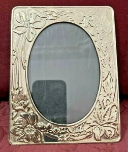 Silver plated photo album photo frame, decorated with flowers 3.5x5 in