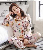 2 Pieces Women Lady Silk Satin Pajamas Pyjama Set Sleepwear Nightwear Loungewear