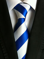 Fashion Blue White striped Mens Silk Tie Wedding party work necktie