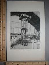 Rare Antique Original VTG 1891 Machinery Hall Paris Photogravure Art Print