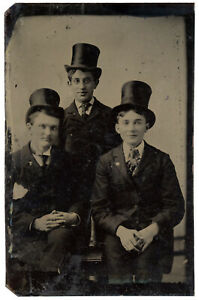 LARGE TINTYPE PHOTO 3 YOUNG MEN WEARING TOP HATS