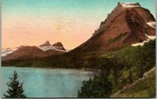 """GLACIER NATIONAL PARK Postcard """"Going to the Sun Mountain"""" HAND-COLORED 1948"""