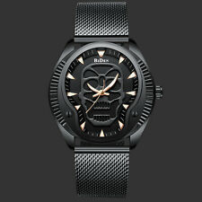 Men's Quartz Wrist Analog Watch Simple Stainless Steel Case Strap Skull Black