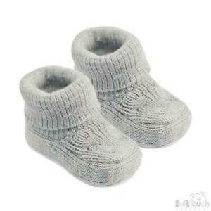 Soft Touch Baby Booties Grey Cute Newborn 0-3 Months Soft Acrylic