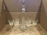 SET- Ivy Etched Glass Wine Decanter, (6) Etched Cordial Glasses; Floral, Vine