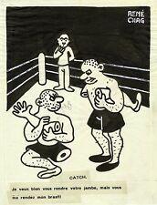 """""""CATCH"""" Dessin à l'encre de Chine sur papier calque par René CHAG  1944"""