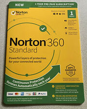 Norton 360 Standard 1 Device 10GB PC Cloud Storage New 21392075 037648688024