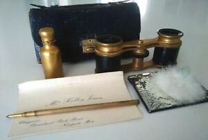 Antique Leather Vanity Evening Purse: Opera Glasses, Perfume, Mirror, Pencil...