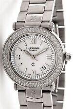 RARE Charriol $7000 1.50ct VS F Diamond SS Ladies Dress 33mm MIDSIZE Date Watch