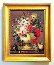 """Vintage Floral Flower Cross Stitch Needlepoint Needlework Golden Framed 21/  26"""""""