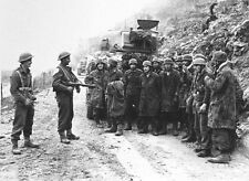 WWII B&W Photo Captured Germans at Monte Cassino Fallschirmjager / 2280