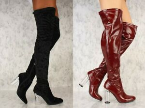 Lot Black Burgundy Red Thigh High Cut Out Texture Clear Chunky Heel Faux Leather