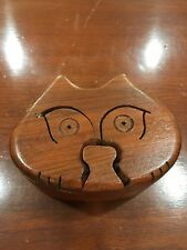 Hand Carved Wooden Puzzle Box - Wood Art - Cat 4 Interlocking pieces