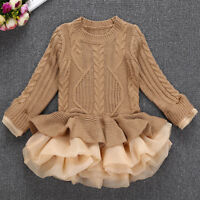 Kids Girls Knitted Sweater Pullovers Tops Crochet Party Xmas Tutu Mini Dress