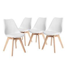 4 Salle à manger chaise en bois rétro jambes Cuir salle à manger salon blanc