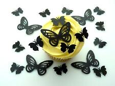 50 BLACK BUTTERFLIES PRE-CUT 2 DESIGNS EDIBLE RICE WAFER PAPER CAKE TOPPERS