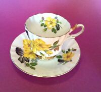 Queen Anne Pedestal Cup & Saucer -  Yellow Wild Roses - Scalloped Rims - England