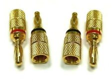 4pc Audio Gold Plated Speaker Wire Connector Banana Plug Jack Open End Home Car