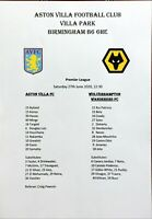 Aston Villa v Wolves 27/6/2020 Unofficial Pirate Issue Team Sheet