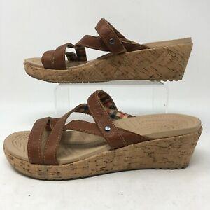 Crocs Comfort Womens Slip On Sandals Cork Wedge Strappy Slide Casual Brown 6W