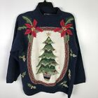 Vintage Ugly Christmas Sweater Medium Blue Tree Ornaments Poinsetta