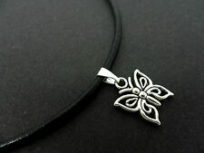 "A LADIES BLACK LEATHER CORD 13 - 14"" CHOKER BUTTERFLY  NECKLACE. NEW."