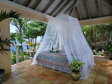 Classic Resort Style White Mosquito Net Bed Canopy - One Size Fits all Beds