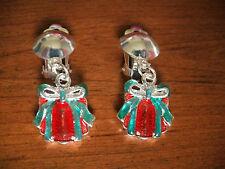 Boucles d'oreilles clip argentées cadeau rouge et vert