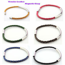 Plaited real leather bracelet with silver plated tube and magnetic clasp