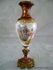 "14"" ANTIQ FRENCH SEVRES HP PORCELAN GILT URN VASE CANDLEHOLDER ARTIST SIGN 19C 1"