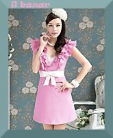 vestito donna stile retrò/vintage abito corto rosa impreziosito ruches tg S,M,L
