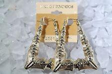 14KT Gold Pincatch Triangle Bamboo Hoop Earrings KT T1