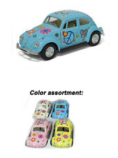 "Set of 4: 5"" 1967 VW Classic Beetle with Flowers and Peace Decals 1:32 Scale"