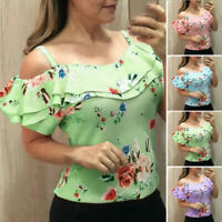 Summer Women's Casual Ruffled Off Shoulder Sling Printing Floral T-shirt Top