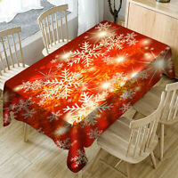 Christmas Tablecloth Print Rectangle Table Cover Holiday Party Home Decoration