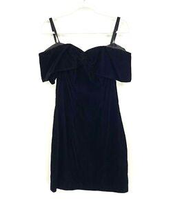 Vintage Rampage Women's Velvet Black Sheath Dress Scalloped Neck Juniors Size 5