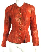 YVES SAINT LAURENT Vintage Burnt Orange Jacquard Silk Lame Jacket 36